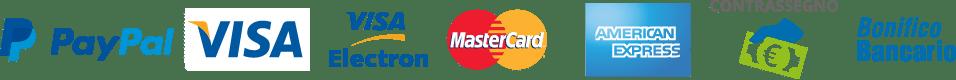 PayPal, Visa, Visa Electron, Mastercard, America Express, Contrassegno, Bonifico Bancario